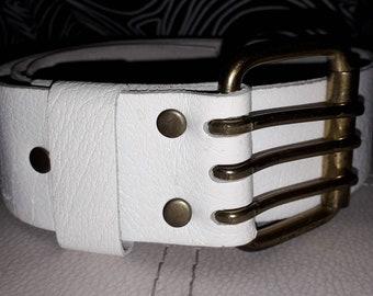 Vintage 1960s Belt Wide White Leather 3 Hole Steerhide Belt Mod Boho M 34 36