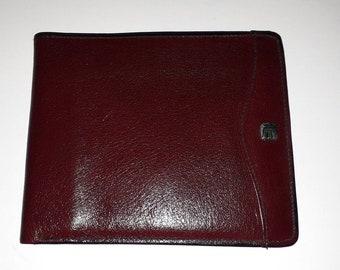 Men's Vintage Wallet 1970s 80s Maroon Oxblood Leather Billfold German Boho