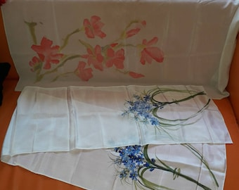Lot of 2 Vintage Silk Scarves Handpainted Floral Silk Scarf White Pink Blue 1 Lg Square 1 long Boho