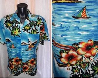 Vintage Hawaiian Shirt Men's 1970s Blue Tropical Island Print Thin Polyester Crepe Campus Brand Hawaiian Shirt USA Rockabilly M