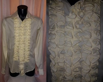 Vintage Men's Shirt 1970s Yellow Ruffled Tuxedo Shirt Prom Wedding Delton USA Mod S 34 35 chest to 40 in.