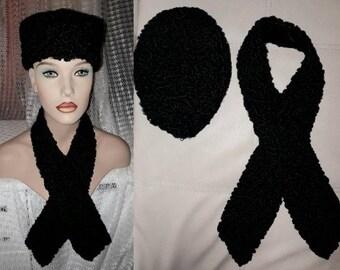 Vintage Fur Hat and Collar 1950s 60s Black Persian Lamb Fur Pillbox Hat and Long Scarf Wrap German Art Deco Rockabilly Hat 21.5 in. 55 cm