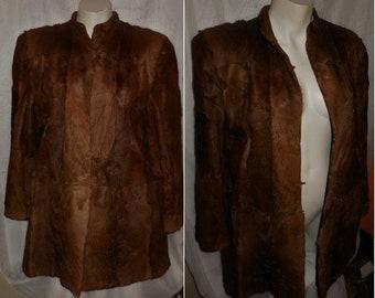 Vintage Fur Coat 1930s 40s Sleek Brown Pony Fur Coat Beautiful Markings Padded Shoulders Art Deco M chest to 38 in.