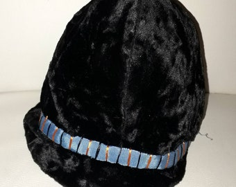 Unworn Vintage Childs Hat 1930s 50s Black Velvet Bucket Hat Cap Colored Ribbon Accent NWT German Art Deco 20 in.