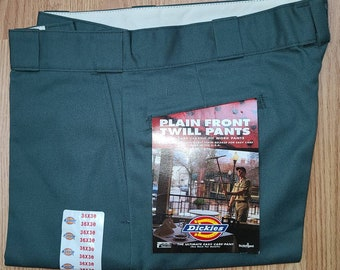 DEADSTOCK Vintage Men's Dickies Pants 1990s Dark Green Plain Front Cotton Poly Blend Twill Work Pants NWT 36 x 30 Rockabilly