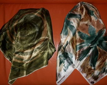 Lot of 2 Vintage Scarves 1950s Large Silk Rayon Satin Abstract Pattern Scarves Green Gold Brown Boho