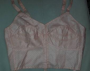 Unworn Vintage Bra 1950s 60s Triumph Pink Embroidered Cotton Circular Stitch Front Fasten Longline Bra Rockabilly Pinup XL 42 C