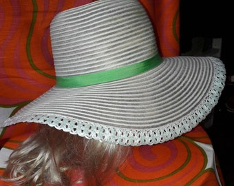 Vintage Picture Hat 1960s 70s Huge Sheer White Floppy Summer Hat Green Bow 1930s Art Deco Style Garden Party USA Boho 22 in.