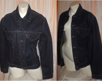 Vintage Levis Jacket Women's Dark Denim Jeans Jacket Barely Worn Rockabilly Boho L chest to 38.5 inches