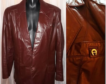 Men's Leather Jacket Vintage Designer Etienne Aigner Oxblood Leather Blazer 1970s Metal Logo Boho 44 Long