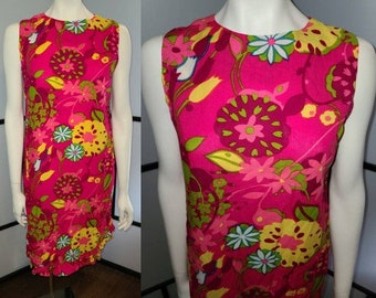 Vintage Hawaiian Dress 1960s Bright Pink Floral Print Minidress Ruffled Edge Young Hawaii Mod M