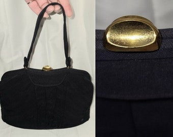 Vintage 1930s 40s Purse Dark Navy Blue Small Fabric Handbag Top Handle Art Deco Rockabilly
