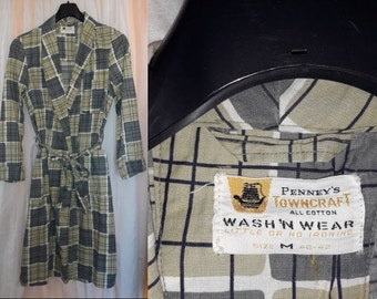 Vintage Men's Robe 1950s Penneys Towncraft Thin Cotton Shaving Robe Great Abstract Pattern Morgenmantel USA Rockabilly M