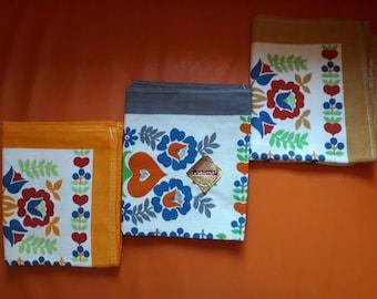 Vintage 1960s Kitchen Towels Set of 3 Cotton Blend Bright Patterned Tea Towels Linen Texture East German DDR Rockabilly Mod Pop