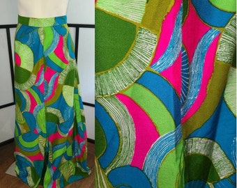 Vintage Long Skirt 1960s Bright Psychedelic Abstract Pattern Skirt Hippie Boho Hawaii M waist 27 in.