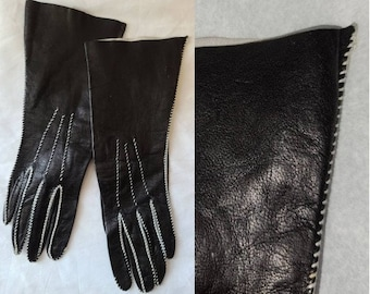 Unworn Vintage Leather Gloves 1940s 50s Thin Midlength Black Leather Gloves Contrasting White Stitching Rockabilly Film Noir Fetish 6 1/4