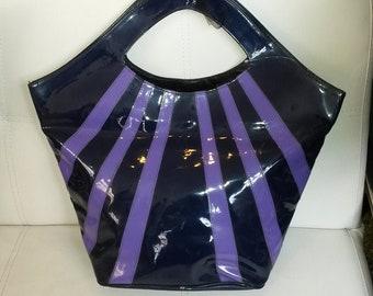 Vintage Purse Large 1980s Purple Vinyl Tote Bag Sunburst Design Bucket Purse New Wave Boho