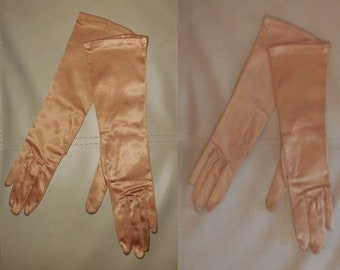 Vintage Gloves 1950s 60s Gold Satin Evening Gloves Midlength Satin Stretch Gloves German Rockabilly Pinup Burlesque sz 7