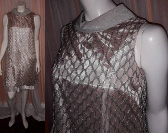 Vintage 1960s Dress Silver Metallic Open Mesh Minidress USA Space Age Mod Go Go Trapeze Dress Absolutely Amazing M chest to 37 in.