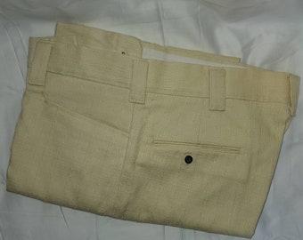 Deadstock Vintage Men's Pants 1960s 70s Trousers Light Yellow Linen Texture Wide Belt Loops Unworn Mod M