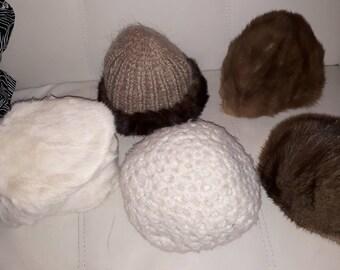 Lot of Vintage Hats 5 1950s 70s Fur Knit Hats Mink Musquash Pillbox Stocking Cap Elegant Boho S M