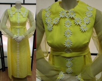Vintage Daisy Dress 1960s 70s Long Yellow Gown Maxidress Daisy Appliques Sheer Sleeves Mod Boho S chest to 35 in.
