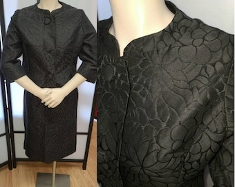 Vintage 1950s Suit Black Satin Embossed Floral Print Skirt Suit Fitted Jacket Large Buttons Pencil Skirt Rockabilly S waist 26 in.
