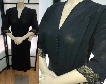 Vintage 1940s Dress Black Rayon Crepe Peplum Lace Dress Art Deco Film Noir L hips to 40 in.