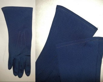 Vintage Gloves 1960s Dark Navy Blue Fabric Gloves Midlength Dunkelblau Stoff-Handschuhe Rockabilly Mod M
