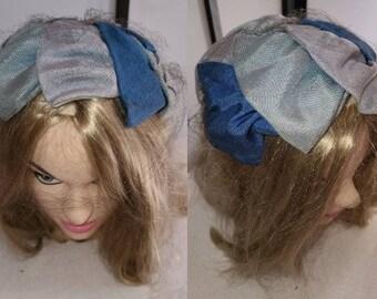 Vintage Half Hat Large 1950s Ribbon Half Hat Large Ribbons Shades of Blue Cocktail Hat Rockabilly