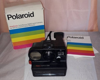 Vintage Polaroid Camera Unused 1970s 80s Land Camera PolaSonic Auto Focus 5000 in Box with Manual Black Plastic