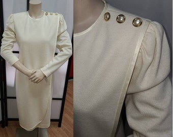 Vintage 1980s Dress Classic Cream Wool Draped Dress Large Gold Pearl Buttons Satin Trim David Warren Winter Wedding S chest 37 in.