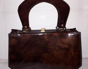 Vintage 1960s Purse Brown Tortoiseshell Pattern Vinyl Handbag Double Handle Accordian Shape USA Mod