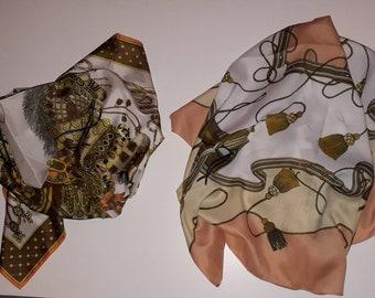 Lot of 2 Vintage Scarves 1970s 80s Equestrian Print Rayon Scarves Peach Beige Orange Brown Vintage Scarf Boho