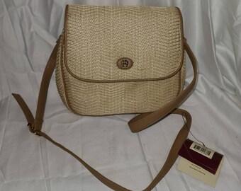 Unused Vintage Aigner Purse 1990s Garden Straw Collection Natural Straw Leather Shoulder Strap Designer Handbag NWT small spot