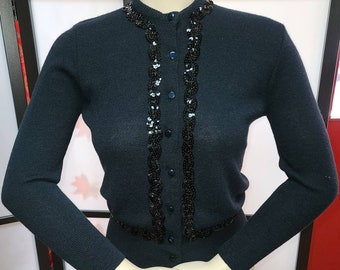 Vintage 1950s Sweater Thin Black Acrylic Cardigan Sweater Black Sequin Trim Rockabilly S chest 35 in.