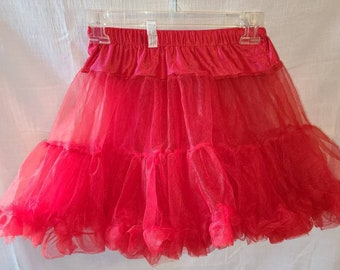 Vintage Girl's Petticoat 1950s Style Short Flouncy Red Nylon Ruffled Crinoline Elastic Waist Rockabilly Square Dance Girls L Womens XS