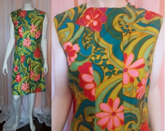 Vintage 1960s Minidress Bright Floral Pop Art Cotton Summer Dress USA Mod Boho L chest to 40 in.