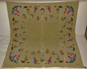 Vintage Silk Scarf Large Designer Ascot Brand Silk Scarf Abstract Boat Sailing Sailboat Motif Boho 33.5 x 34 in.