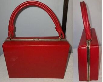 Vintage Box Purse 1950s 60s Bright Red Vinyl Box Purse Handbag Rockabilly Mod good size