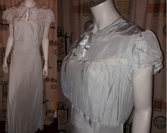 Vintage 1930s Nightgown Long Light Blue Rayon Lace Bias Cut Nightgown Keyhole Neck USA Art Deco L XL chest to 40 in.