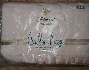 Unused Vintage Blanket 1950s 60s Pink Fleecy Cotton Fieldcrest Caribbean Breeze Satin Trim Blanket NIP 72 x 90 in. some age stains