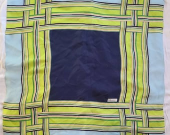 Vintage Silk Scarf 1960s Blue Green Op Art Pattern Acetate Scarf Japan Mod 26 x 27 in.
