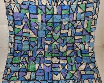 Vintage Silk Scarf 1950s Designer Jeanne Lanvin Castillo Hidden Paris Silk Scarf Purple Blue Abstract Scarf Boho 30 x 31.5 in.