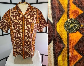 Vintage Men's Hawaiian Shirt 1960s Brown Orange Yellow Cotton Barkcloth Hawaiian Shirt Metal Buttons Hanakahi of Hawaii Tiki Rockabilly L