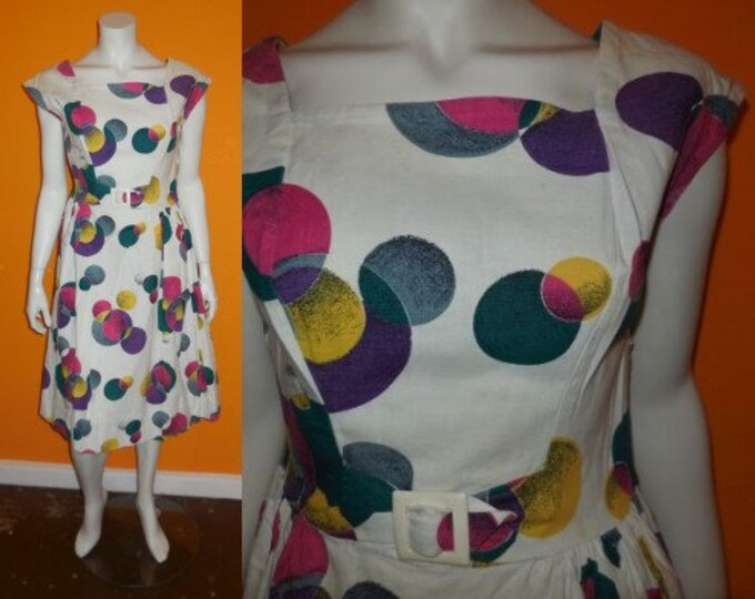 Featured listing image: Vintage 1950s Dress Crisp White Cotton Blend Pouf Dress Sundress Bright Colored Circles Plastic Buckle German Rockabilly Summer M