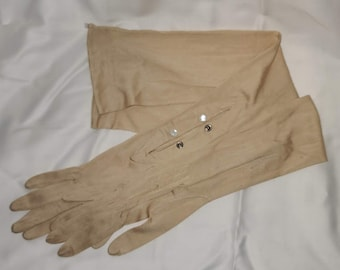Antique Vintage Gloves Long Thin Beige Silk Gloves Opera Length 1900s Edwardian German Jugendstil XS S