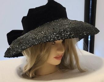 Vintage 1950s Hat Large Round Black Straw Sun Hat Wide Brim Huge Black Velvet Bow Rockabilly