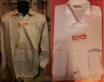 Unworn Vintage Men's Shirt 1950s Beige Long Sleeve Shirt Notched Collar NWT Cotton Dress Shirt Subtle Pattern Eterna German Rockabilly M