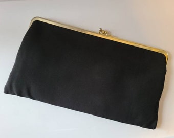 Vintage 1950s Purse Classic Black Fabric Clutch Purse Gold Metal Kiss Clasp 2 Compartments Rockabilly 11 x 6 in.